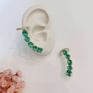 ear cuff com piercing fake turmalina dourado