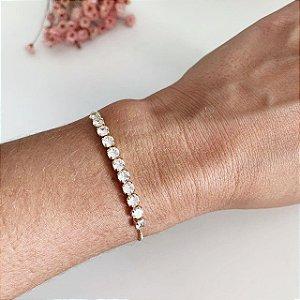 pulseira de zircônia ajustável dourada