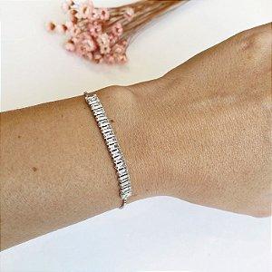 pulseira elegancy ajustável cristal prata