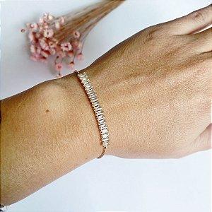 pulseira elegancy ajustável cristal dourada