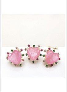 conjunto coração rosa cravejado zirconias coloridas dourado