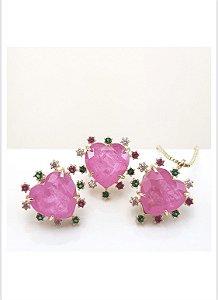 conjunto coração pink cravejado zircônias coloridas dourado