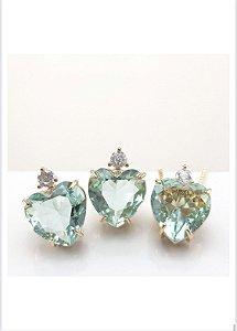 conjunto luxury coração verde claro fusion dourado