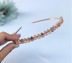 tiara de zircônia gotinhas alinhadas dourada