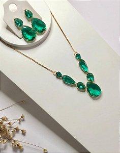 Conjunto de luxo maxi gotas verde turmalina dourado