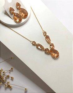 Conjunto de luxo maxi gotas pêssego dourado