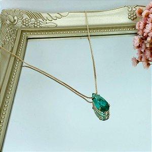 colar gota palito esmeralda fusion dourado