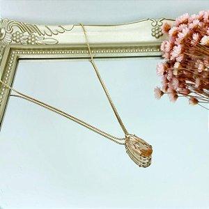 colar gota palito pêssego dourado