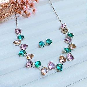 conjunto de luxo belíssima zirconias colors prata