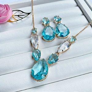conjunto de luxo maxi gotas acqua dourado