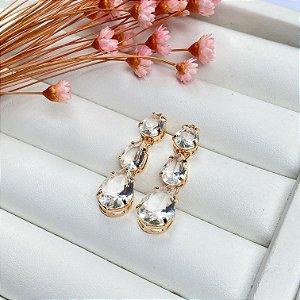 brinco luxury gotas cristal dourado