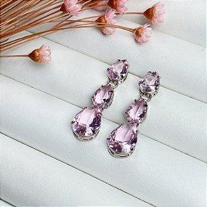brinco luxury gotas rosa prata