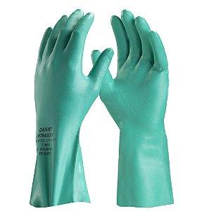 Luva Nitrílica VERDE NITRASOLV com forro para Proteção Química DA36201