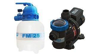 Conjunto Filtrante Bomba 1/4cv Filtro FM 25 Sodramar