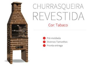 Churrasqueira Pré-Moldada Revestida Tabaco 64cm Refracon