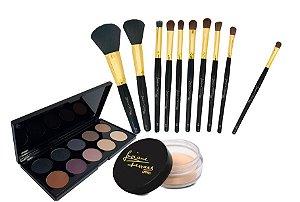 KIT maquiagens Pinceis e paleta e Fixador de sombra LFPRO