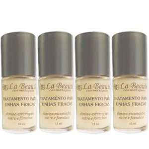 KIT COM  4 BASE TRATAMENTO PARA UNHAS FRACAS LA BEAUTÉ 15 ml