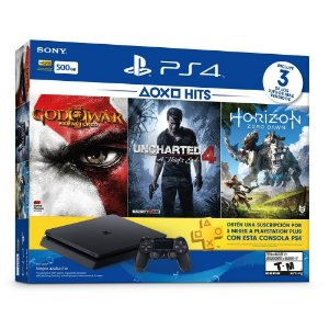 PS4 com 3 jogos (Horizon Zero Dawn, God of War 3 e Uncharted 4)