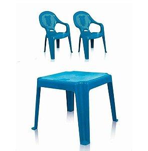 04fe161ac Kit mesa com 2 cadeiras infantil - (Cor à escolher entre azul, verde e