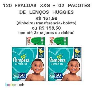 Kit 120 fraldas XXG Pampers Confort Sec + 2 Pacotes de Lenços Huggies