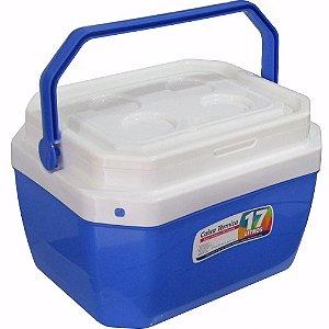 Caixa Térmica 17 Litros Azul Portátil com Trava