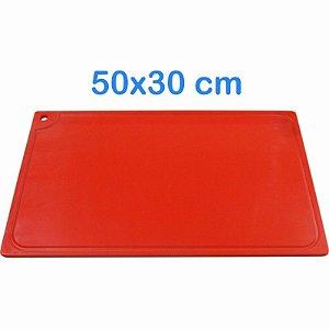 Tabua de Corte 50 x 30cm em Polietileno Vermelho