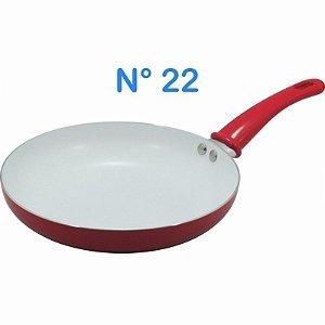 Frigideira N° 22 Vermelha Com Revestimento Cerâmico Anti-adr
