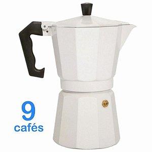 Cafeteira Italiana Em Alumínio Para 9 Cafés Branca Ou 450 Ml