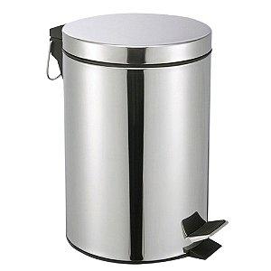 Lixeira Cozinha Banheiro De Pedal Em Aço Inox 5 Litros Com Balde Interno Alça