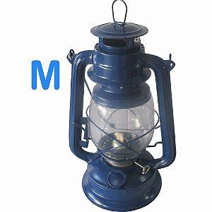 Lampião a Querosene Azul Medio 27cm