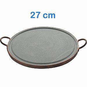 Chapa Picanheira de Pedra Pequena 27 cm com Alças de Cobre