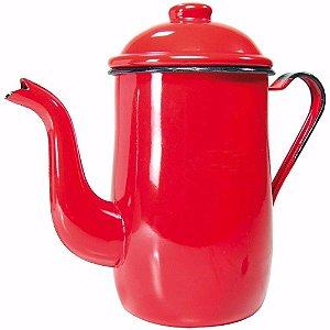 Bule Esmaltado Ágata 1,2 Litros Café Antiguidade Viagem Decoração vermelha