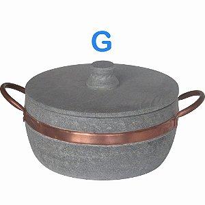 Panela caçarola Fogão a Lenha de Pedra Sabão G com Alças de Cobre litragem aproximada 2 L