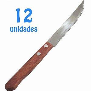 Jogo de Facas de Churrasco Cabos de Madeira com 12 Unidades