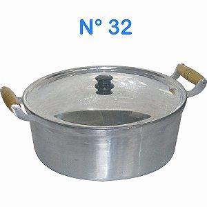 Panela Caçarola de Alumínio Fundido Alumínio Batido N° 32 com Cabos de Madeira