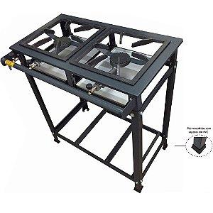 Fogão Industrial 2 Bocas 30x30 Alta Pressão Com Suporte Pra Panela