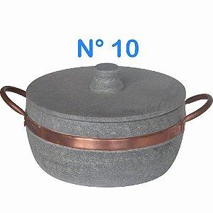 Panela Caçarola de Pedra Sabão N°10 com Alças de Cobre