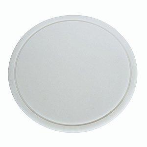 Tabua Placa Redonda Para Corte 35cm Em Polietileno Branco