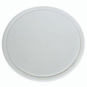 Tabua Placa Redonda Para Corte 40cm Em Polietileno Branco