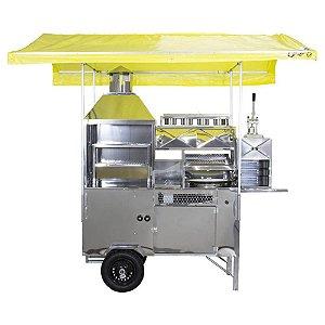 Carrinho de Churrasco, Hot-Dog, Pastel, Batata Frita (Modelo 4 em 1) Com Cobertura