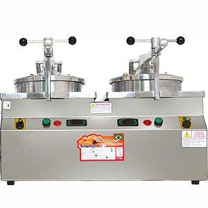 Fritadeira sob Pressão Elétrica Industrial de Frango No Balde Peixes Porções sob Pressão 36 Kg 2 Cubas