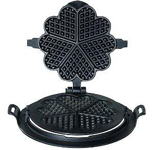 Forma Waffle Assadeira giratória em Ferro Fundido Para Fogão A Lenha desenho coração 24cm