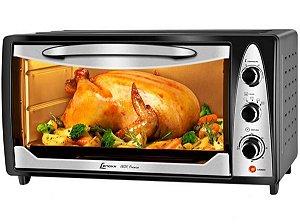 Forno Elétrico Inox Premium 45L Timer Função 1,600W até 250ºC.