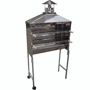 Carrinho churrasqueira em Inox para Espetinhos 100cm com rodas e chaminé