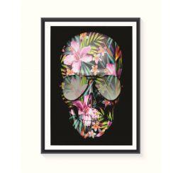 Pôster Emoldurado - Caveira Floral