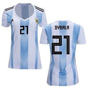 Camisa Feminina Seleção da Argentina Home 2018/2019-Dybala N°21