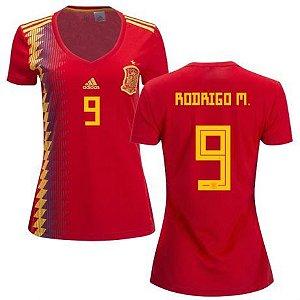 Camisa Feminina Seleção da Espanha Home 2018/2019-Rodrigo Moreno Nº9