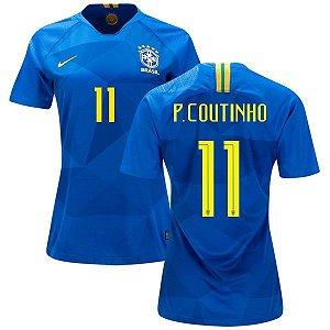 9d147f5676 Camisa Feminina Seleção do Brasil Away 2018 2019-Philippe Coutinho N°11