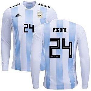 Camisa Seleção da Argentina Manga Longa Home 2018/2019-Rigoni N.º24