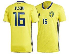 Camisa Seleção da Suécia Home 2018/2019-Nilsson Nº16